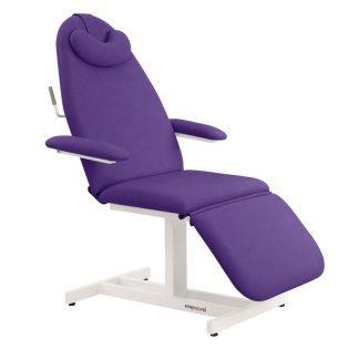 Stationær behandlingsstol - 3 dele med armlæn - Pude - Hvid coated ramme