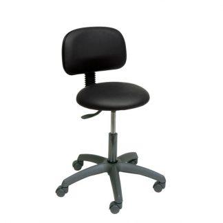 Rund stol med ryglæn og base lavet I sort