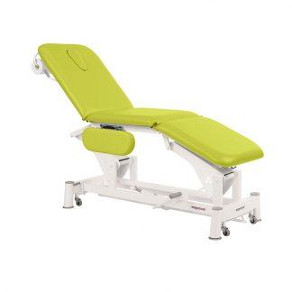 Hydraulisk behandlingsstol - 3 dele med armlæn, papirrulleholder og hjul