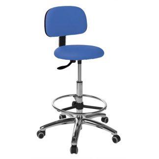 Rund stol med ryglæn - Fodbetjent gasfjeder