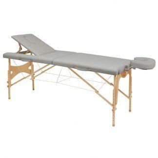 Foldbar træmassagebord - 2 dele - 182x70 cm - Justerbart ryglæn/højde