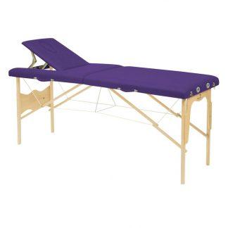 Foldbar træmassagebord - 2 dele - 182x50 cm - Stationær højde
