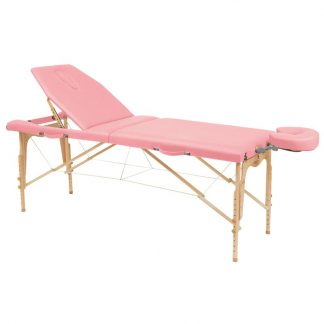 Foldbar træmassagebord i 2 dele - 182x70cm - Justerbar højde/ryglæn