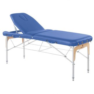 Foldbar massagebord (Alu) - 2 dele - 186x70 cm - Stort ryglæn