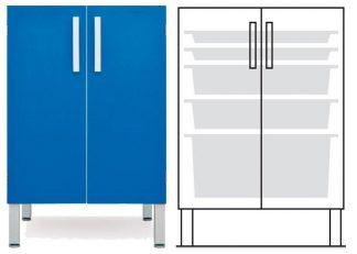 Gulvskab - ISO-modul - 2 døre og 2 2 1 kurve - Teleskopskinne