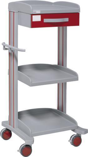 Hospitalsvogn med 3 hylder - 1 skuffe - Epoxybelægning - Højde 128 cm