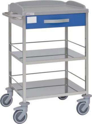 Multifunktionel hospitalsvogn med 3 hylder - 1 skuffe - Rustfri stål