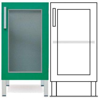 Gulvskab - ISO-modul - 1 glasvæg og 1 justerbar hylde