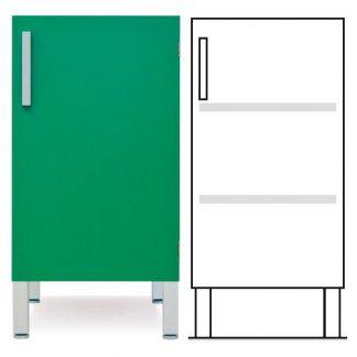 Gulvskab - ISO-modul - 1 væg og 2 justerbare hylder