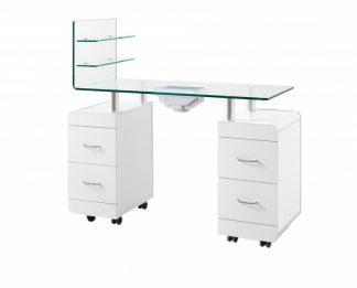Manicurebord I hvid plywood med ventilator - 2 skabe og 1 ekstra væg
