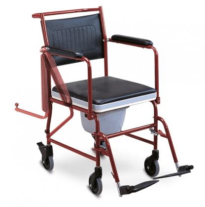 Transport toiletstol med hjul og flip-op armlæn