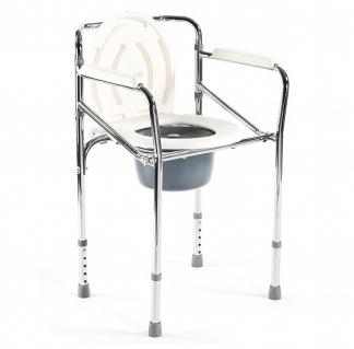 Foldbar toiletstol - Højdejusterbar - Krom ramme