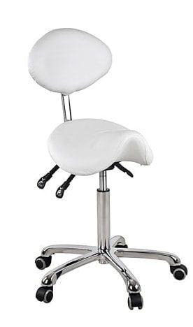 Sadelstol med ovalt ryglæn i elegant design med forkromet ramme