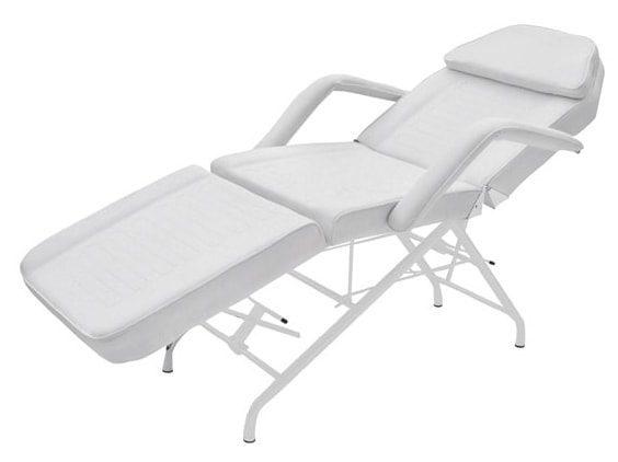 Stationær behandlingsstol - 3 dele - Hvid coated stålramme - PVC belægning