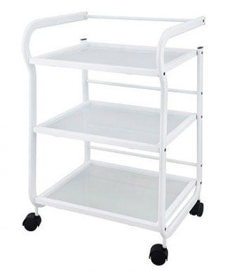 Vogn med hvid belagt stålramme - 3 shelves - Hvid coated