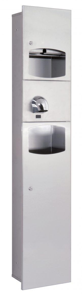 Køkkenrulledispenser, håndtørrer (Saniflow) og affaldsspand