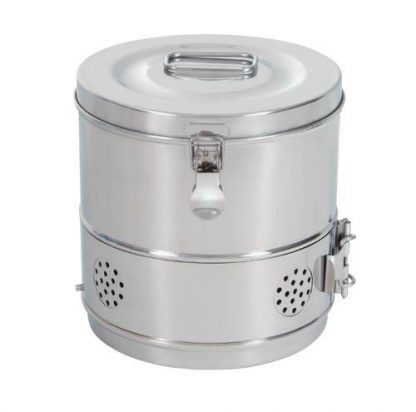 Cylindrisk sterilisationsholder lavet af rustfri stål - Ø20x20 cm - Model 2