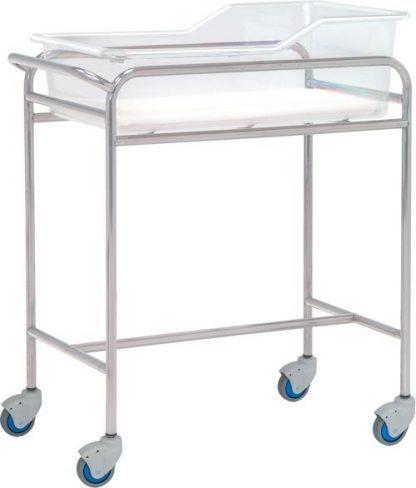 Spædbarnsseng med hjul til neonatologi - Rustfri stål - 80x48x85 cm