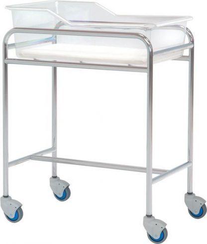 Spædbarnsseng med hjul til neonatologi - Forkromet stål struktur - 80x48x85 cm