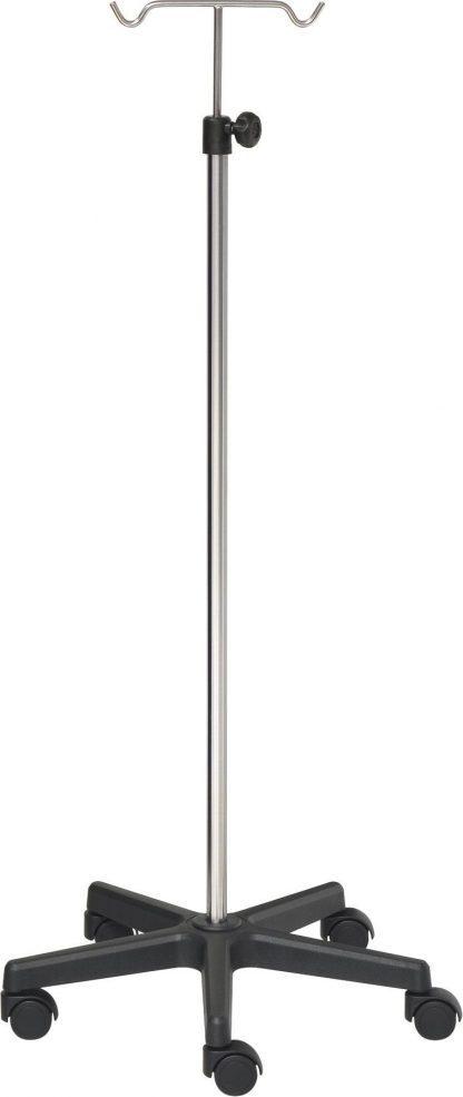 IV-stativ - 2 kroge - Rustfri stål - Ekstra Stor base lavet af sort PVC