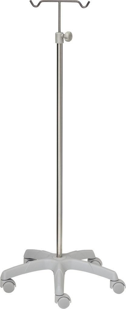 IV-stativ - 2 kroge - Rustfri stål - Stor aluminium base