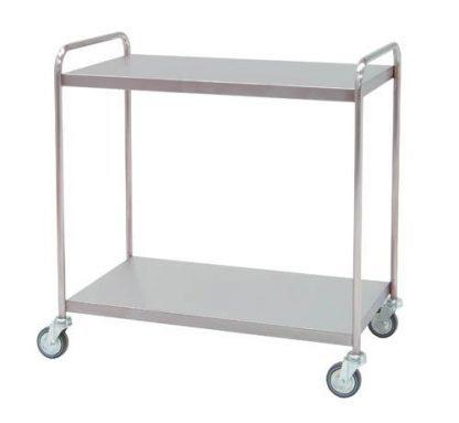 Distributionsvogn lavet af rustfri stål - 2 hylder - 95x55x95 cm