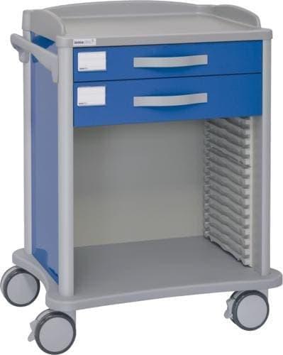 Hospitalsvogn - 2 skuffer - Teleskopskinne til ISO kurve (600x400 mm)