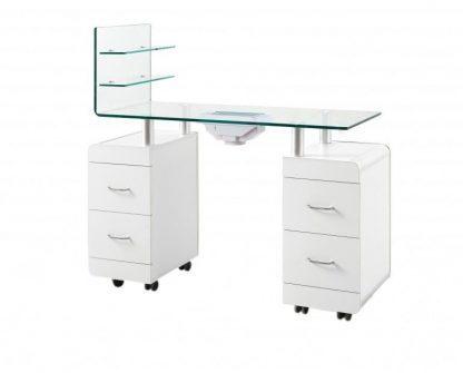 Manicurebord I hvid krydsfiner med ventilator til udstødning - 2 skabe og 1 ekstra væg