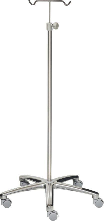 IV-stativ - 2 kroge - Rustfri stål - 640 mm aluminium base - grå hjul