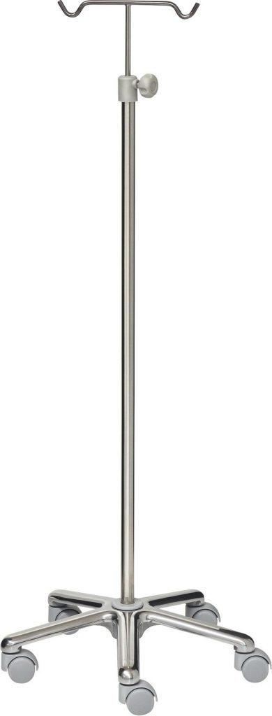 IV-stativ - 2 kroge - Rustfri stål - Aluminium base