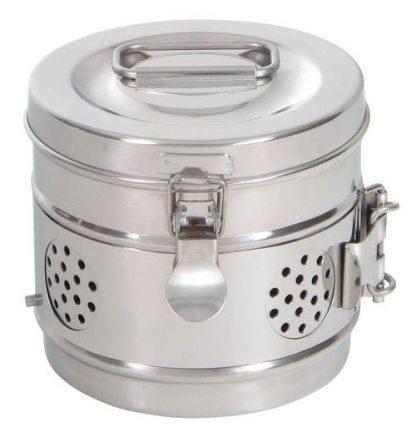 Cylindrisk sterilisationsholder lavet af rustfri stål - Ø14x12 cm - Model 2