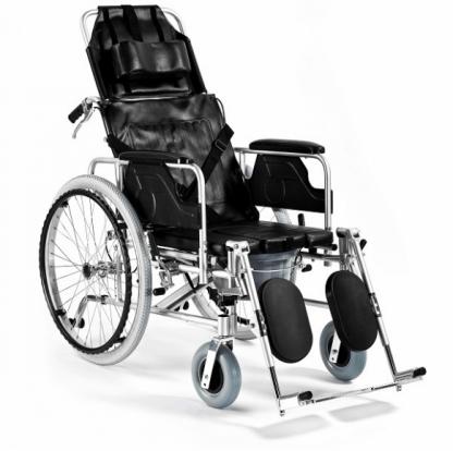 Foldbar kørestol lavet af aluminium med toiletfunktion - 4 punkt bælte
