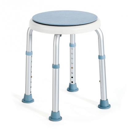 Rund brusestol med roterende sæde