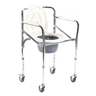 Foldbar toiletstol - Højdejusterbar - Med hjul