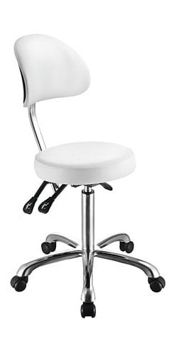 Rund stol med ryglæn - Forkromet ramme