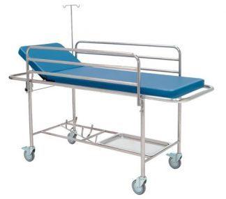Vogn med sideskinner, IV-stativ og oxygenbeholder - 205x68 cm
