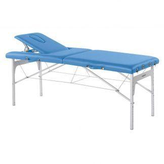 Foldbar massagebord (Alu) - 2 sektioner - 182x70 cm - Justerbar højde/ryglæn
