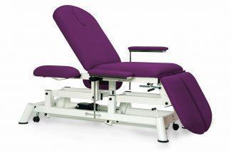 Elektrisk behandlingsbord - 3 sektioner - individuelle benstøtter - 4 armlæn