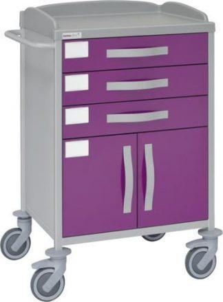 Hospitalsvogn med 1 hylde - 3 skuffer - 1 skab - Epoxy coating
