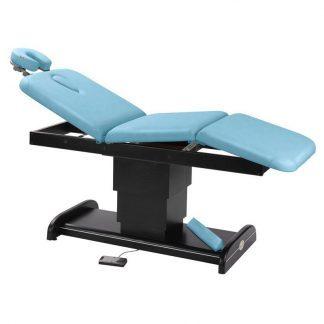 Elektrisk behandlingsbord / massagebord - 3 sektioner med træbase (mørk finish)