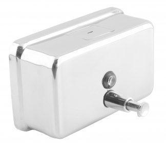 Sæbedispenser med knap lavet af rustfri stål (AISI 304) - Horisontal