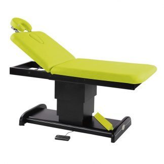 Elektrisk behandlingsbord / massagebord - 2 sektioner med træbase (mørk finish)