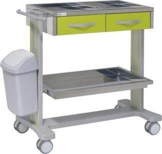Hospitalsvogn med 2 hylder lavet af aluminium - 2 skuffer - Affaldsspand