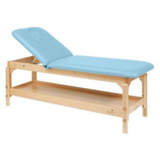 Stationær behandlingsbord - 2 sektioner med træbase - Justerbar - Med opbevaring