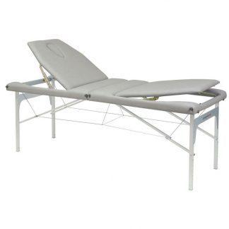 Foldbar massagebord (Alu) - 2 sektioner - 182x70 cm - Ryglæn - Justerbar