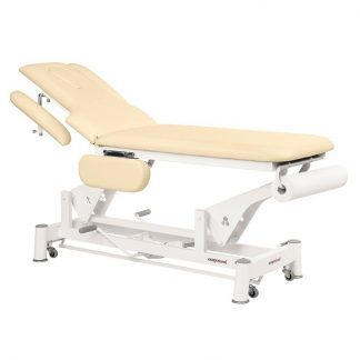 Hydraulisk behandlingsbord - 2 sektioner med 4 armlæn og hjul - Papirrulleholder