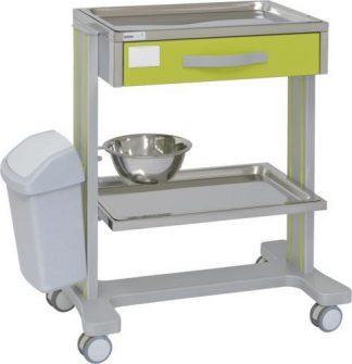 Hospitalsvogn med 2 hylder lavet af aluminium - 1 skuffe - 1 skål - Affaldsspand