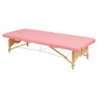 Foldbar træmassagebord - 2 sektioner - 182x70 cm (lav) - Justerbar højde