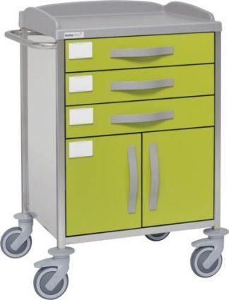 Hospitalsvogn med 1 hylde - 3 skuffer - 1 skab - Rustfri stål