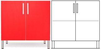Gulvskab - ISO-modul - 1 skab med 1 justerbar hylde
